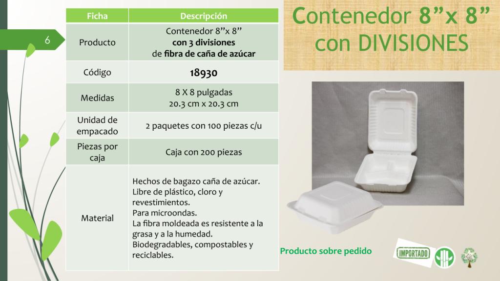 """Contenedor 8""""x 8"""" con 3 divisiones de fibra de caña de azúcar"""