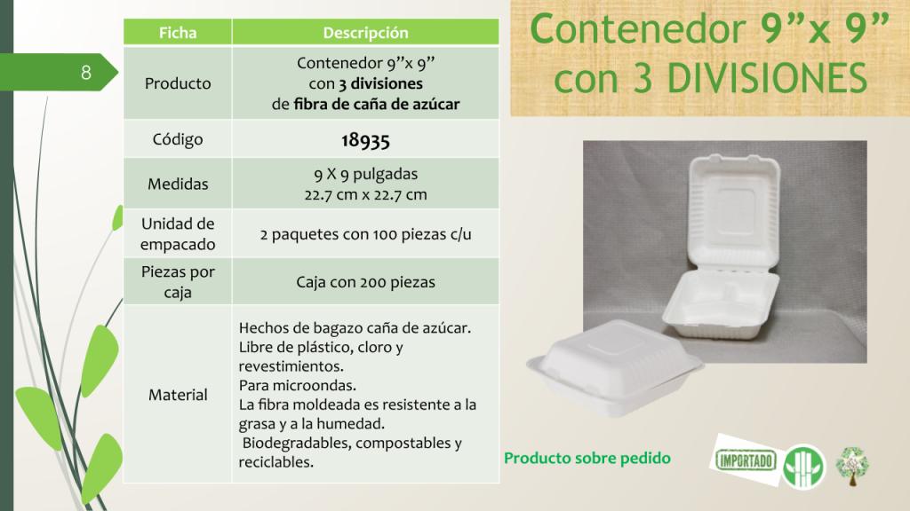"""Contenedor 9""""x 9"""" con 3 divisiones de fibra de caña de azúcar"""