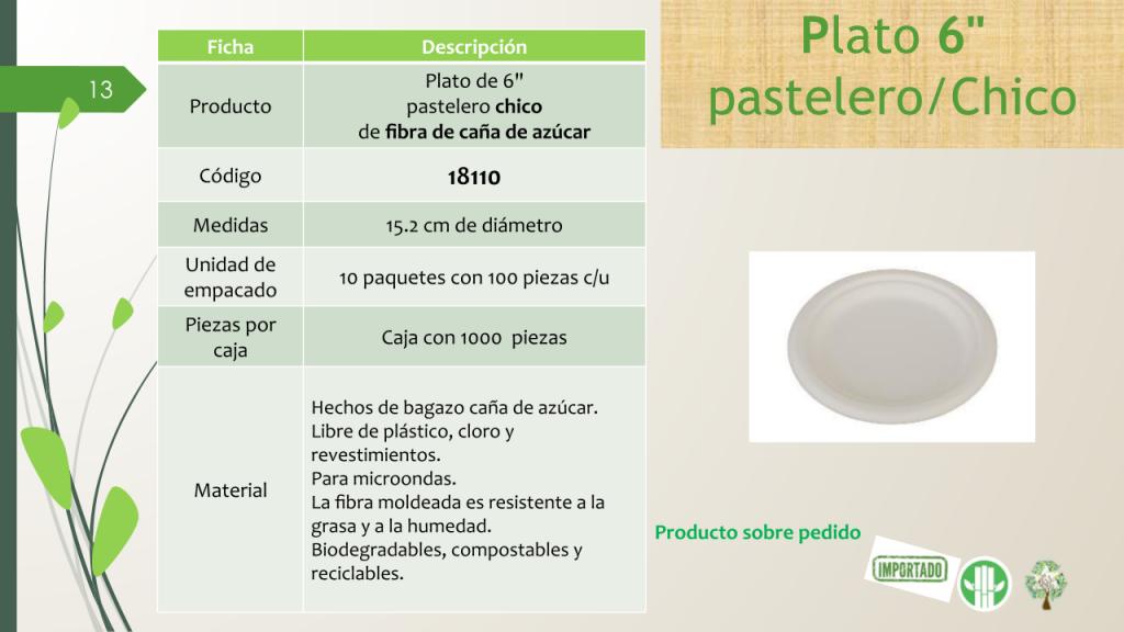 "Plato de 6"" pastelero chico de fibra de caña de azúcar"