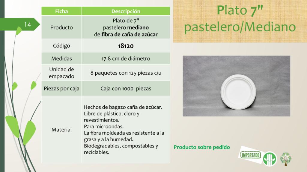 "Plato de 7"" pastelero mediano de fibra de caña de azúcar"