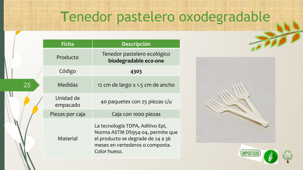 Tenedor pastelero ecológico biodegradable eco-one