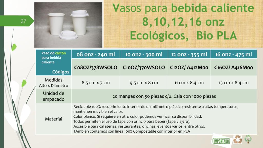 Vasos para bebida caliente 8, 10, 12, 16 oz Ecológicos, Bio PLA
