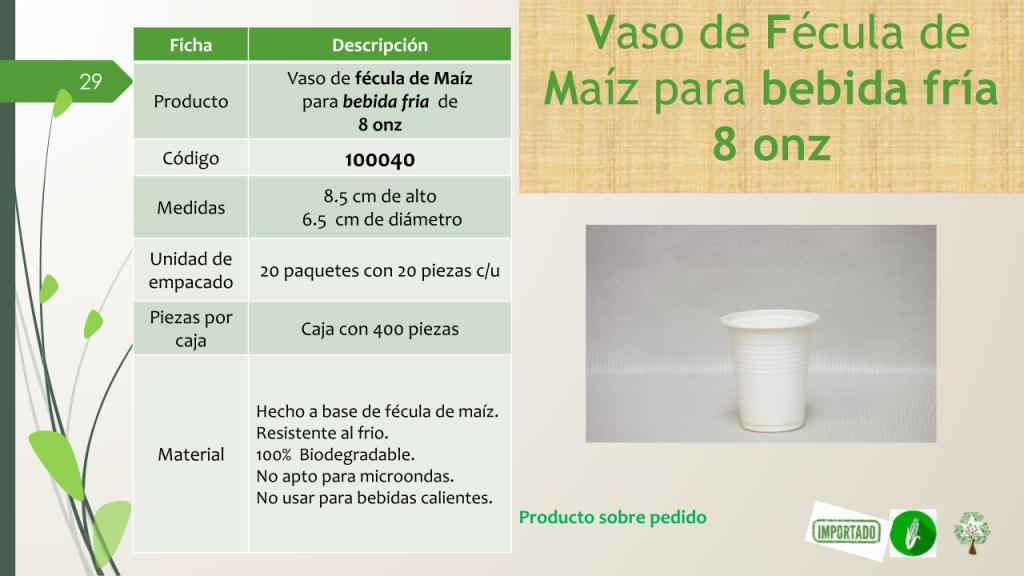 Vaso de fécula de Maíz para bebida fria de 8 onz