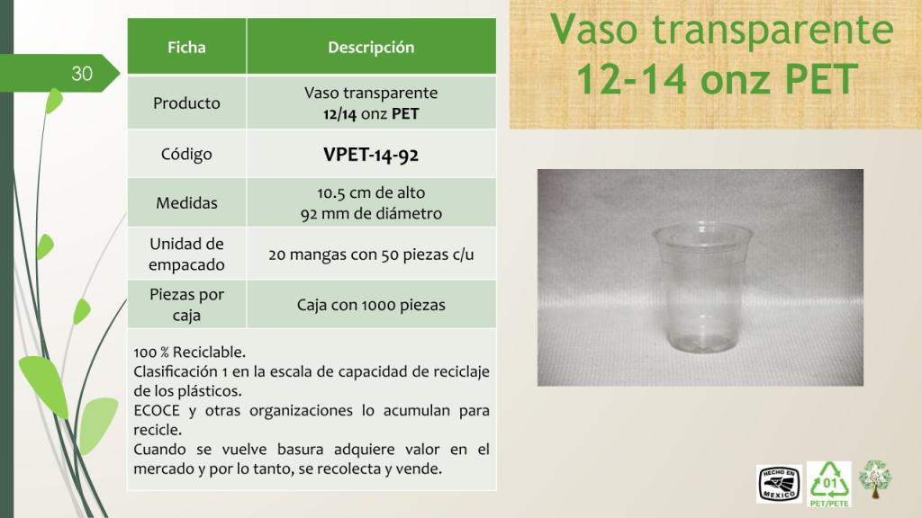 Vaso transparente 12/14 onz PET