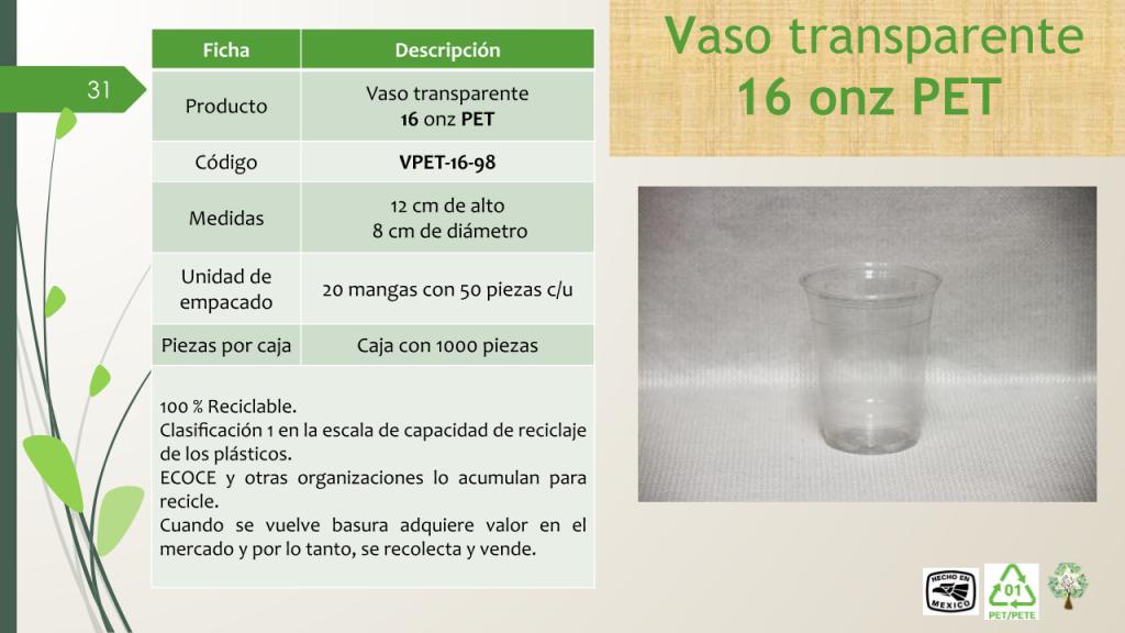 Vaso transparente 16 onz PET