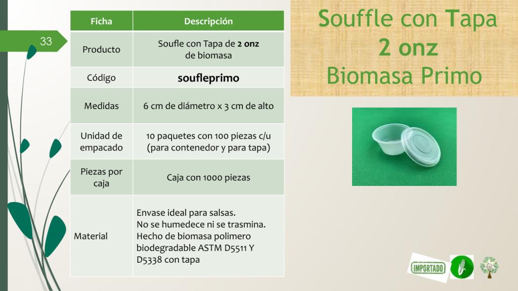 Soufle con Tapa de 2 onz de biomasa