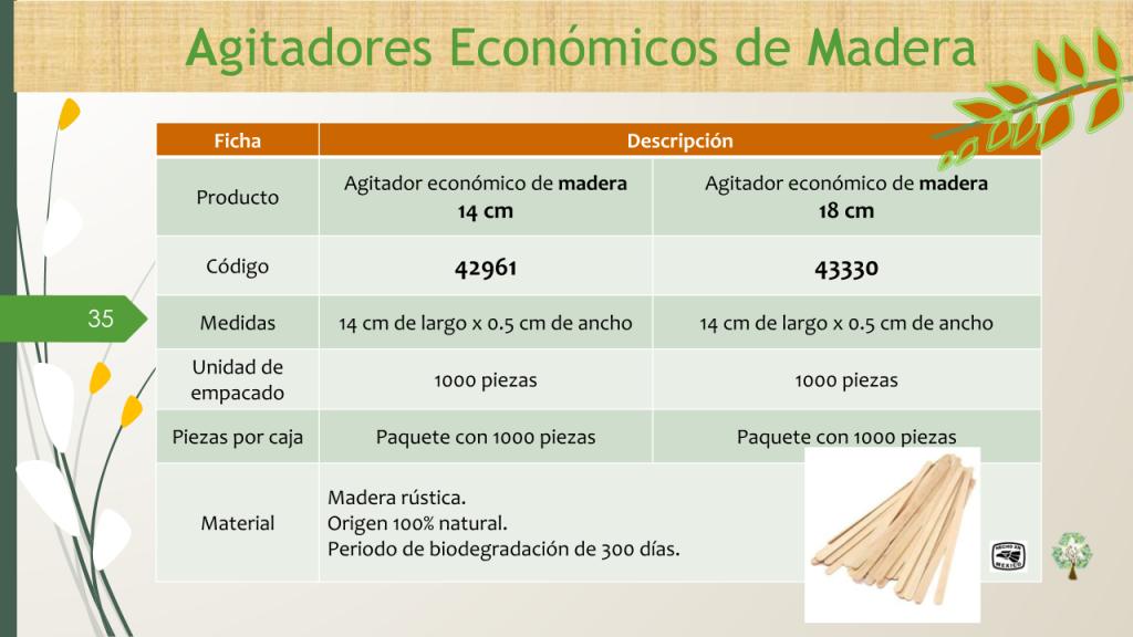 Agitador económico de madera 14, 18 cm