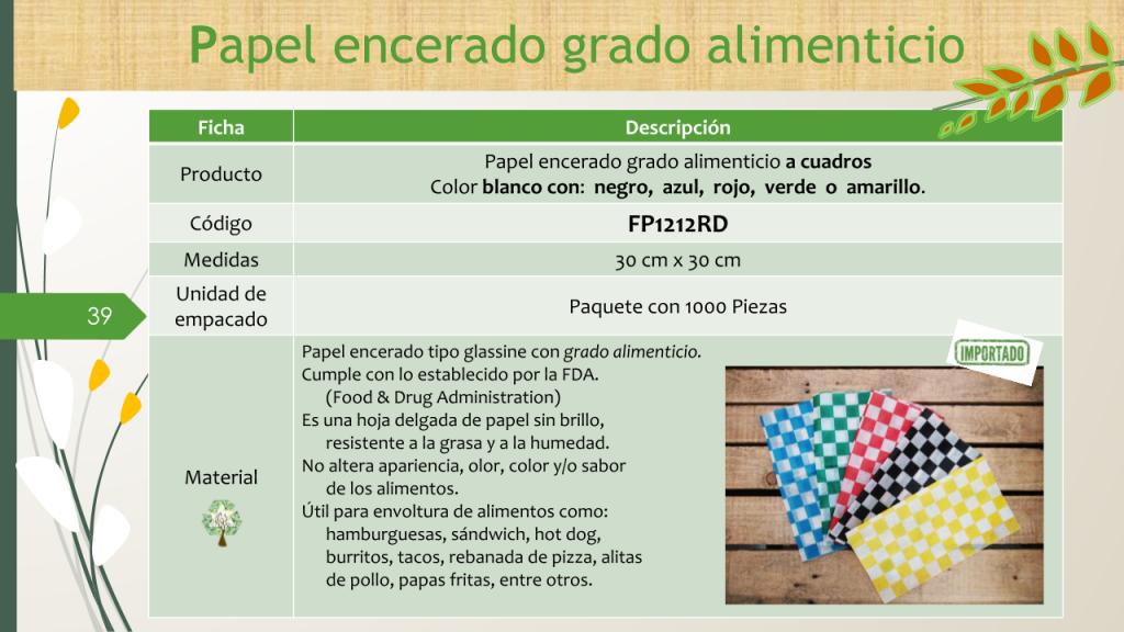 Papel encerado grado alimenticio a cuadros Color blanco con: negro, azul, rojo, verde o amarillo