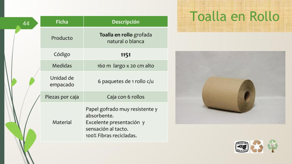 Toalla en rollo grofada natural o blanca