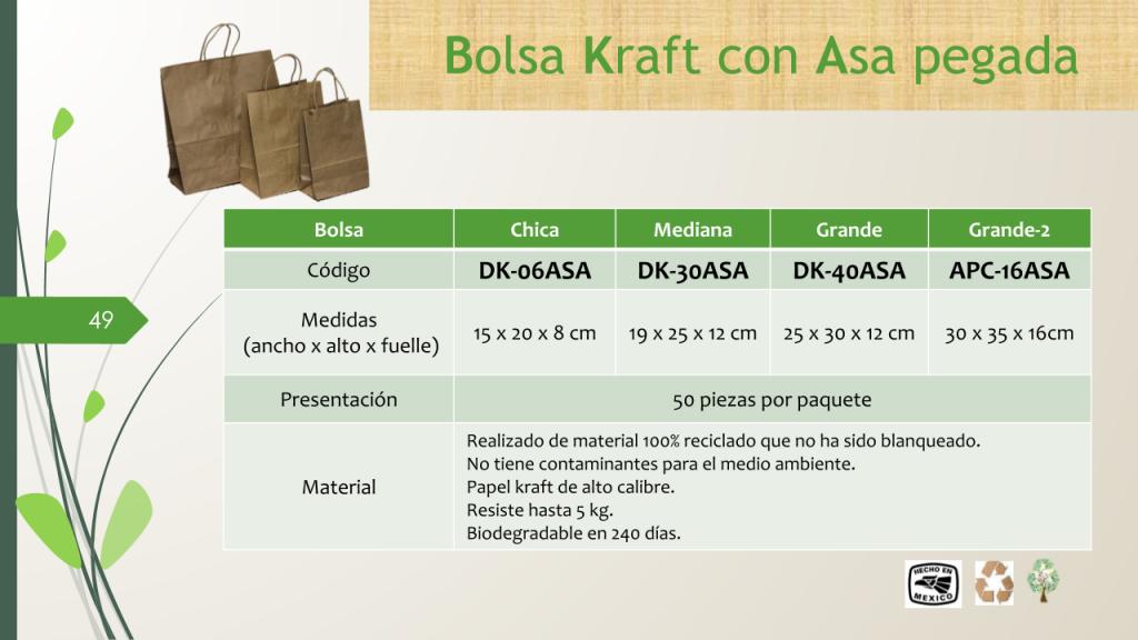 Bolsa Kraft con Asa pegada Ch, Md, Gd, Gd2