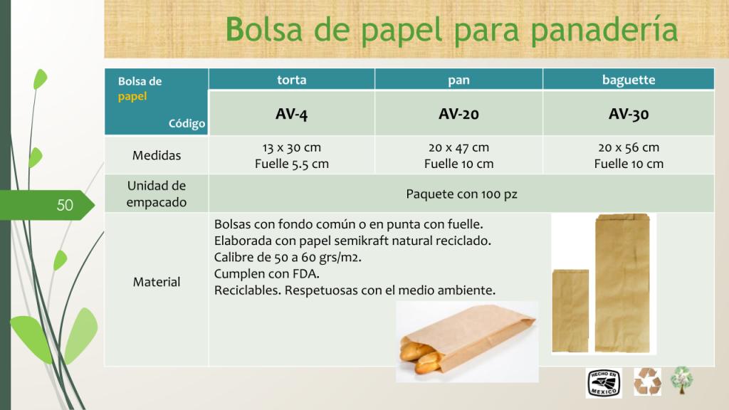 Bolsa de papel para panadería Torta, Pan y Baguette